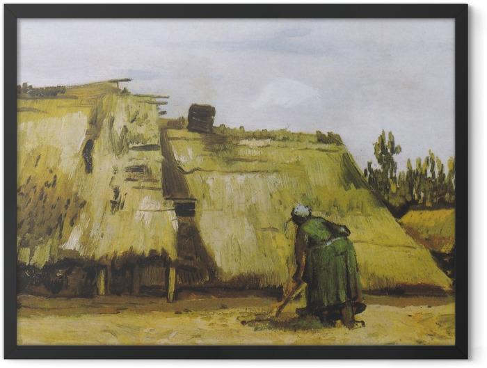 Gerahmtes Poster Vincent van Gogh - Hütte mit arbeitender Bäuerin - Reproductions