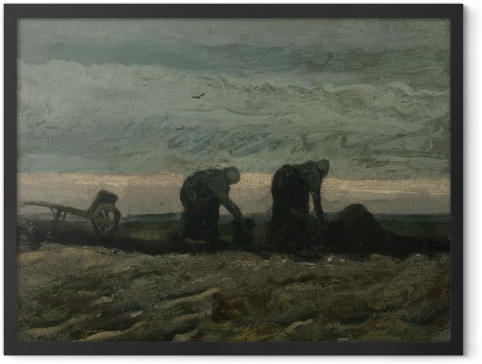 Poster en cadre Vincent van Gogh - Deux Paysannes ramassant la tourbe - Reproductions
