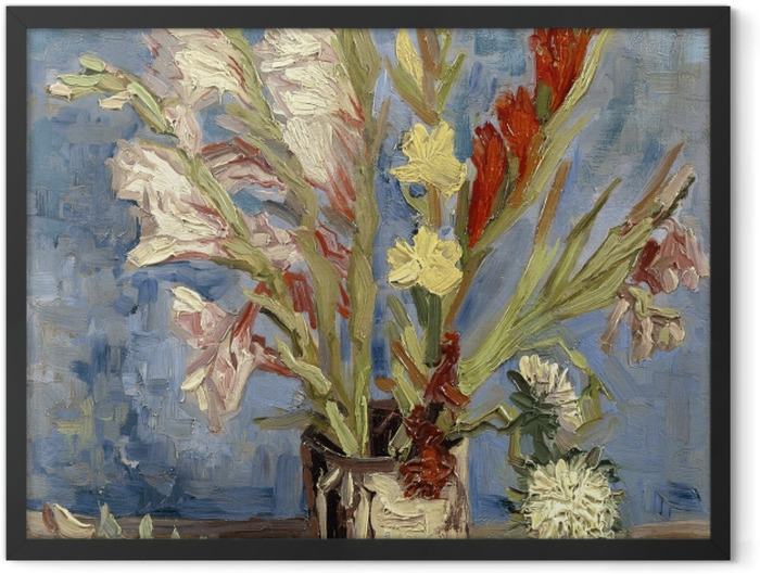 Gerahmtes Poster Vincent van Gogh - Vase mit Gladiolen - Reproductions