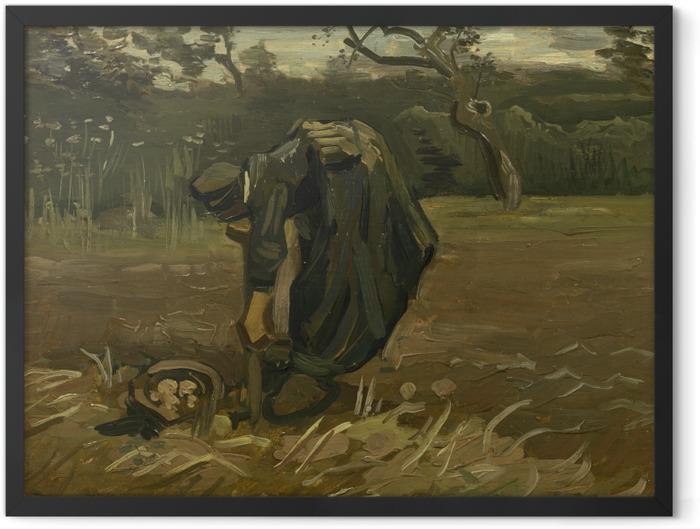 Gerahmtes Poster Vincent van Gogh - Kartoffelgrabende Bäuerin - Reproductions