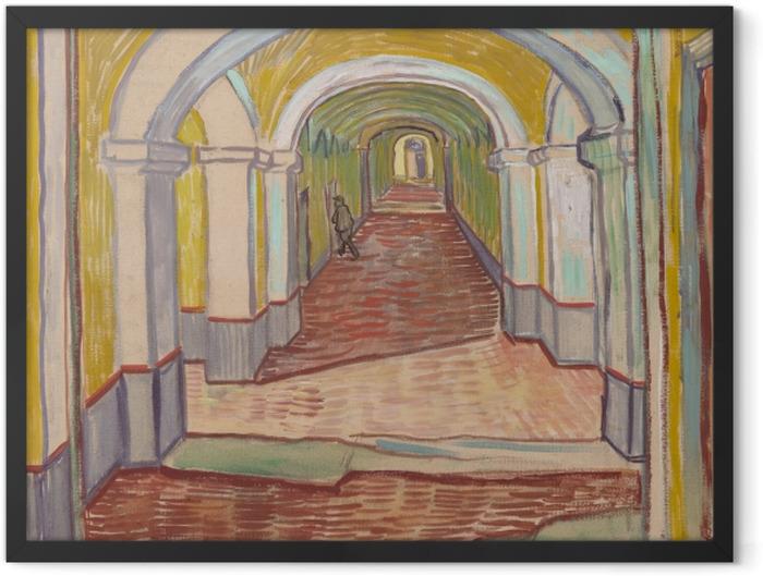 Gerahmtes Poster Vincent van Gogh - Korridor im Asyl - Reproductions