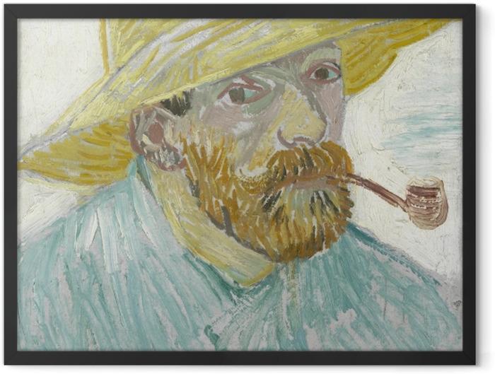 Plakat w ramie Vincent van Gogh - Autoportret z fajką i słomianym kapeluszem - Reproductions