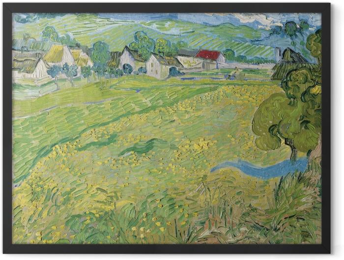 Gerahmtes Poster Vincent van Gogh - Blick auf Auvers in der Nähe von Les Vessenots - Reproductions