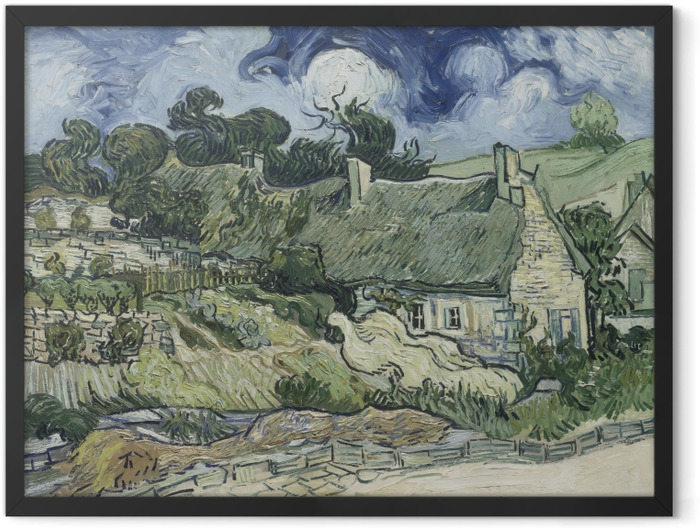 Gerahmtes Poster Vincent van Gogh - Landschaft mit Hütten - Reproductions