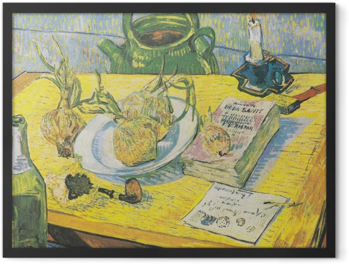 Gerahmtes Poster Vincent van Gogh - Stillleben mit Zeichenbrett, Pfeife, Zwiebeln und Siegellack - Reproductions