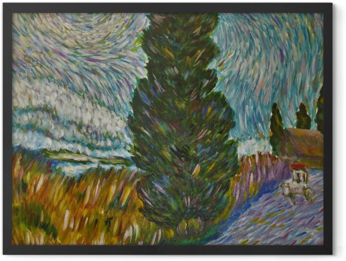 Gerahmtes Poster Vincent van Gogh - Straße mit Zypresse und Stern - Reproductions
