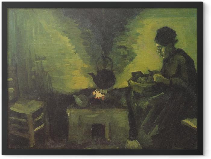 Poster en cadre Vincent van Gogh - Paysanne près de l'âtre - Reproductions
