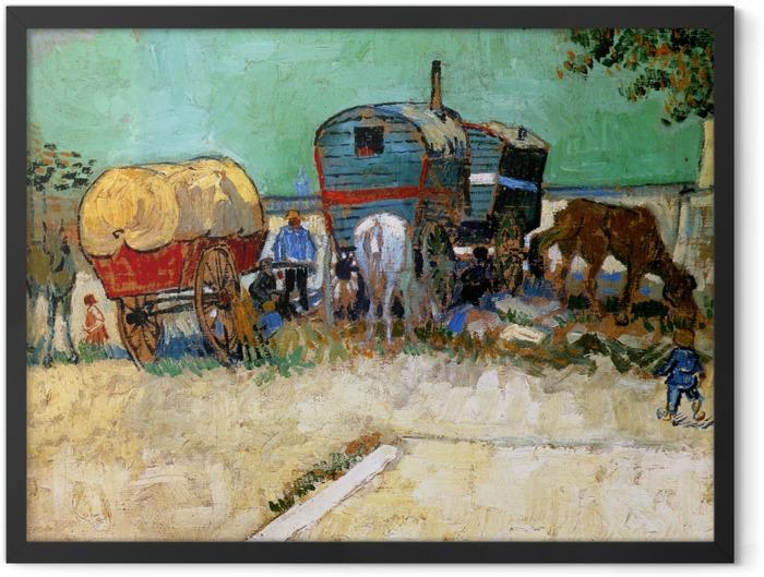 Plakat w ramie Vincent van Gogh - Cygańskie obozowisko z wagonami - Reproductions