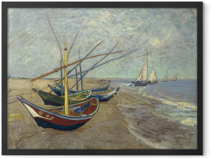 Gerahmtes Poster Vincent van Gogh - Fischerboote am Strand von Les Saintes-Maries-de-la-Mer - Reproductions