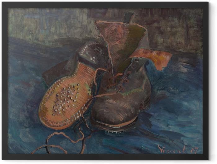 Poster en cadre Vincent van Gogh - Paire de souliers sur sol bleu - Reproductions