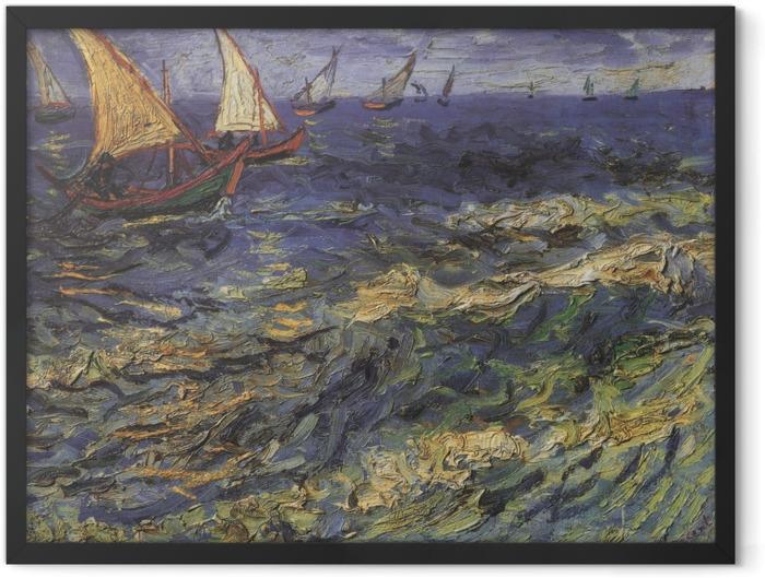 Gerahmtes Poster Vincent van Gogh - Meerblick mit einem Segelboot - Reproductions