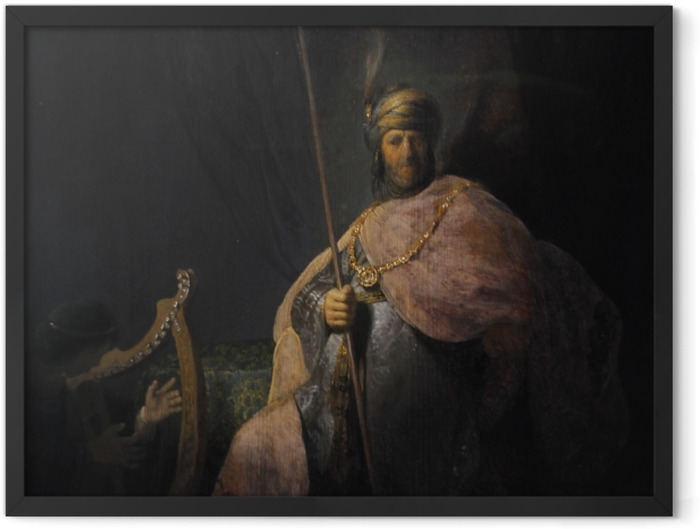 Plakat w ramie Rembrandt - Dwaid grający na harfie Saulowi - Reprodukcje