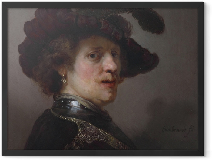 Gerahmtes Poster Rembrandt - Selbstbildnis mit Federhut - Reproduktion