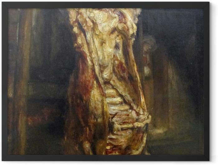 Plakat w ramie Rembrandt - Rozpłatany wół - Reprodukcje