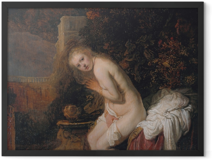 Gerahmtes Poster Rembrandt - Susanna und die beiden Alten - Reproduktion