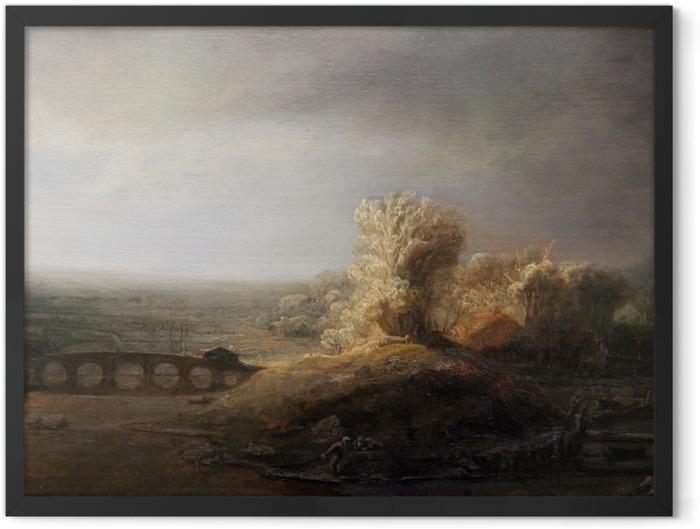 Plakat w ramie Rembrandt - Pejzaż z mostem - Reprodukcje