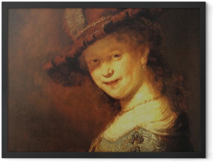 Poster en cadre Rembrandt - Saskia van Uylenburg, buste d'une jeune femme souriante - Reproductions