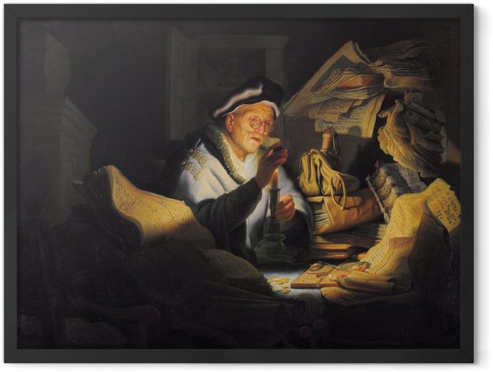 Gerahmtes Poster Rembrandt - Der Geldwechsler - Reproduktion