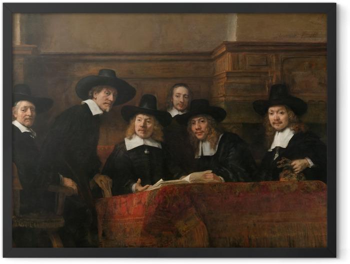 Gerahmtes Poster Rembrandt - Die Vorsteher der Tuchmacherzunft - Reproduktion