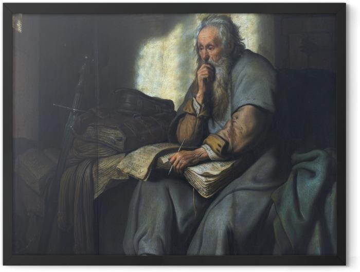 Gerahmtes Poster Rembrandt - Paulus im Gefängnis - Reproduktion