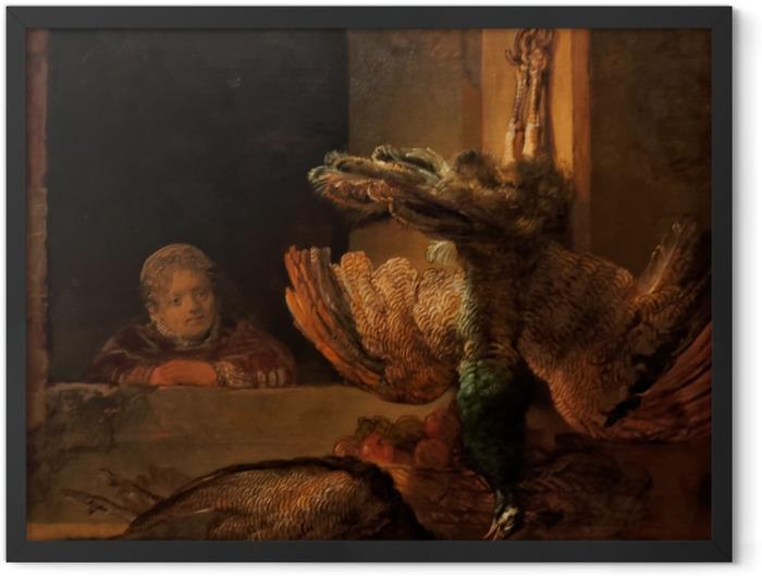 Plakat w ramie Rembrandt - Martwe pawie - Reprodukcje