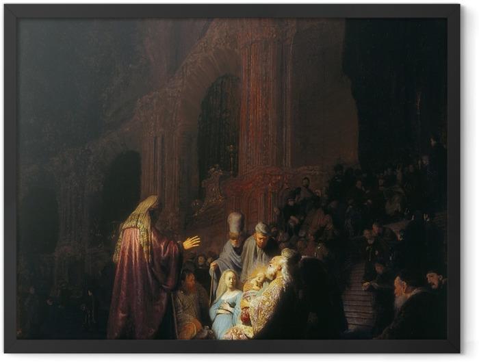 Gerahmtes Poster Rembrandt - Simeon im Tempel - Reproduktion