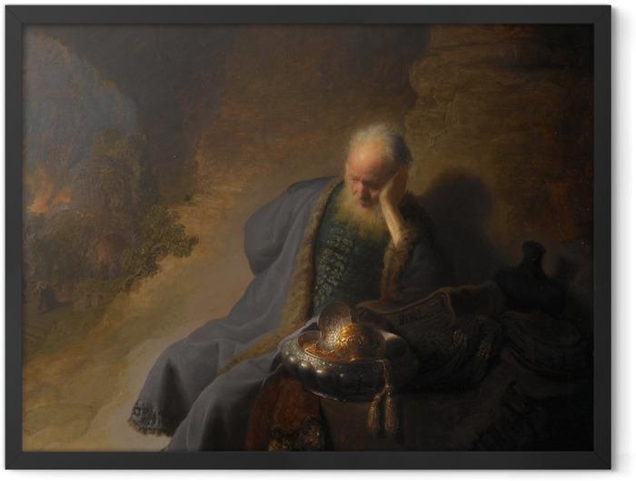 Gerahmtes Poster Rembrandt - Jeremia beklagt die Zerstörung Jerusalems - Reproduktion