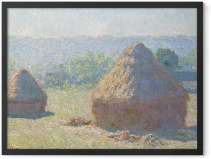 Gerahmtes Poster Claude Monet - Getreideschober - Reproduktion