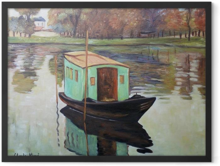 Poster en cadre Claude Monet - Le Bateau-atelier - Reproductions