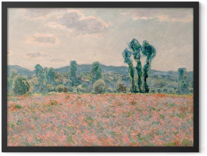 Gerahmtes Poster Claude Monet - Feld mit Mohnblumen - Reproduktion