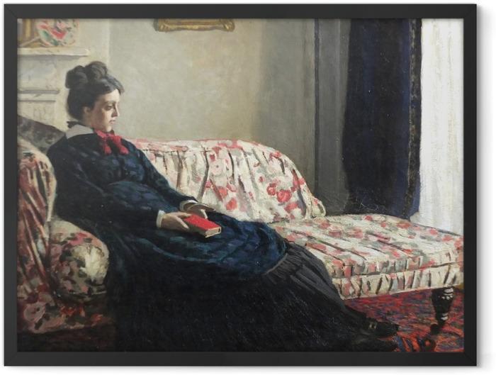 Gerahmtes Poster Claude Monet - Meditation oder Madame Monet auf dem Sofa - Reproduktion