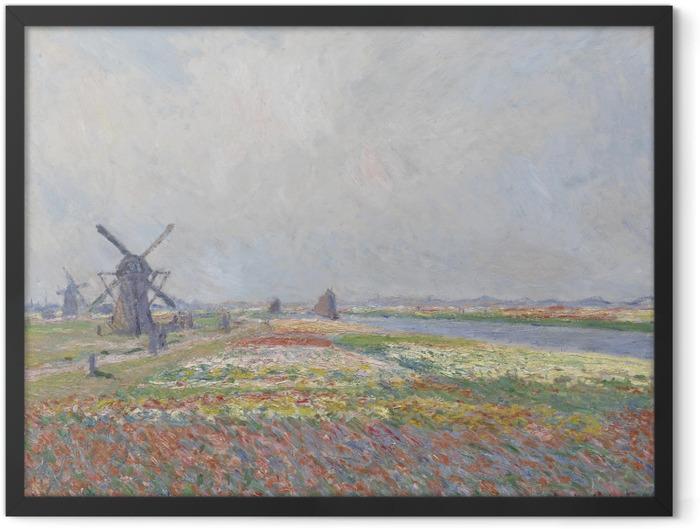 Plakat w ramie Claude Monet - Pole tulipanów z wiatrakiem koło Rijnsburga - Reprodukcje