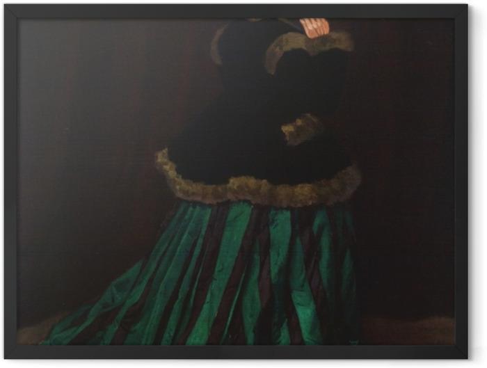 Poster en cadre Claude Monet - La Femme en robe verte - Reproductions
