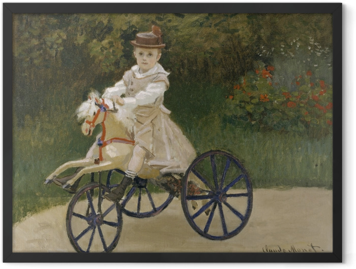Gerahmtes Poster Claude Monet - Jean Monet auf einem Spielzeugpferd - Reproduktion