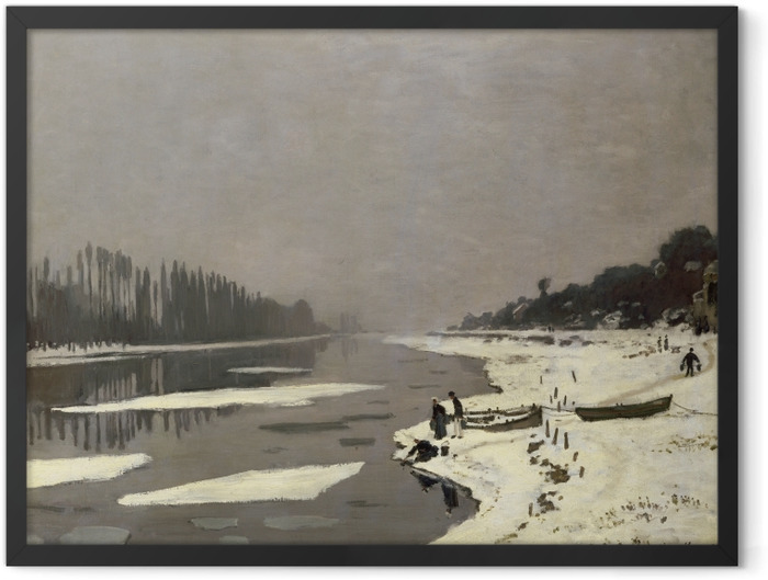 Gerahmtes Poster Claude Monet - Eisgang auf der Seine bei Bougival - Reproduktion