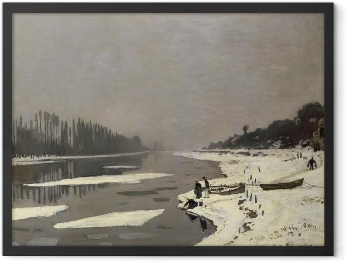 Poster en cadre Claude Monet - Glaçons sur la Seine à Bougival - Reproductions