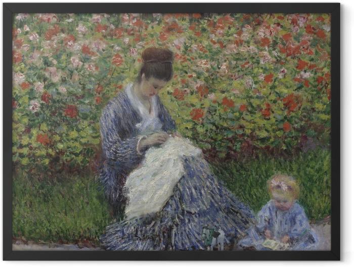 Plakat w ramie Claude Monet - Camille Monet z synem w ogrodzie w Argenteuil - Reprodukcje