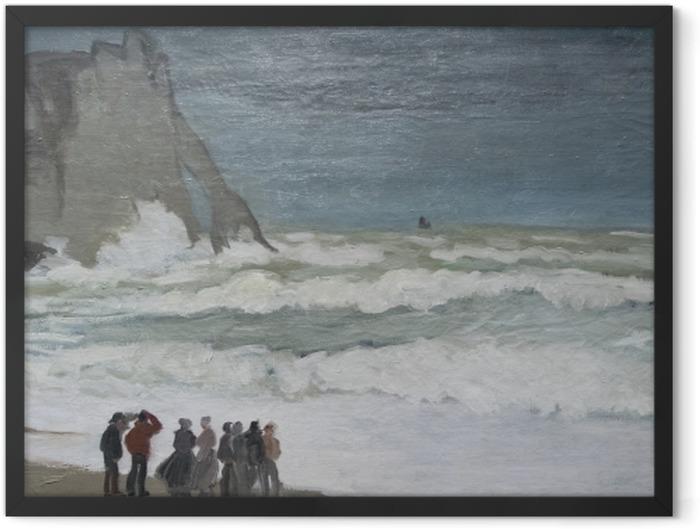 Poster en cadre Claude Monet - Mer agitée à Etretat - Reproductions