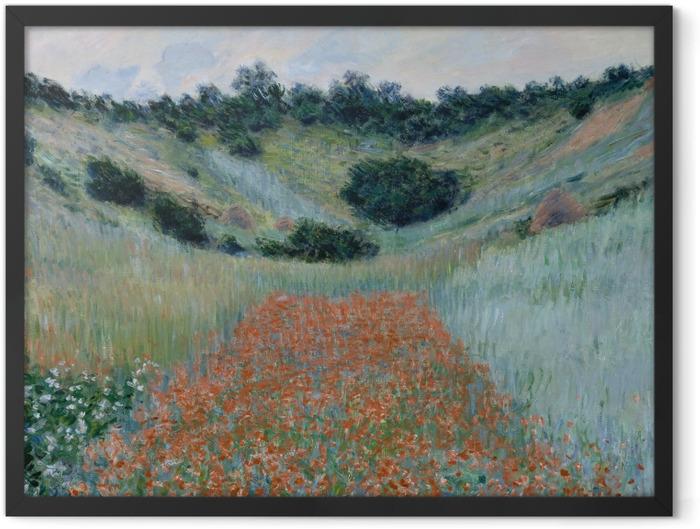 Gerahmtes Poster Claude Monet - Das Mohnfeld bei Giverny - Reproduktion