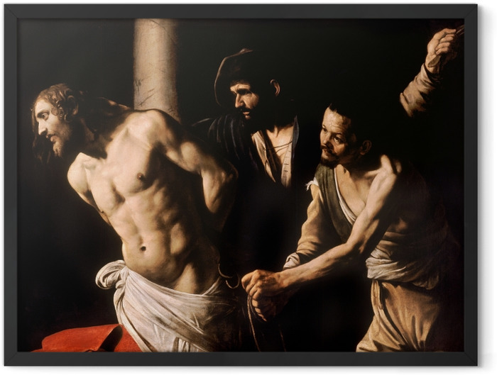 Plakat w ramie Caravaggio - Biczowanie Chrystusa - Reproductions