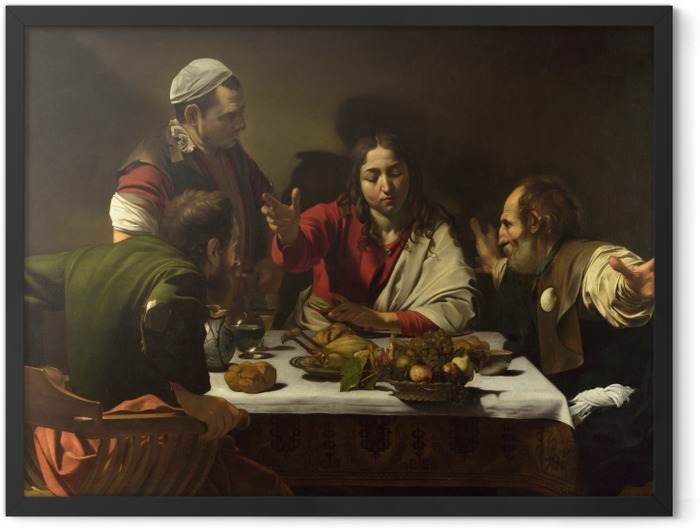 Gerahmtes Poster Caravaggio - Das Abendmahl in Emmaus - Reproductions