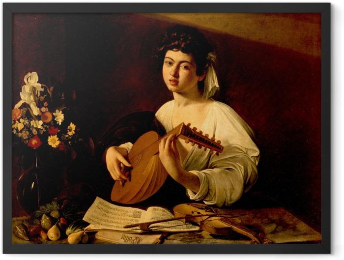 Gerahmtes Poster Caravaggio - Der Lautenspieler - Reproductions