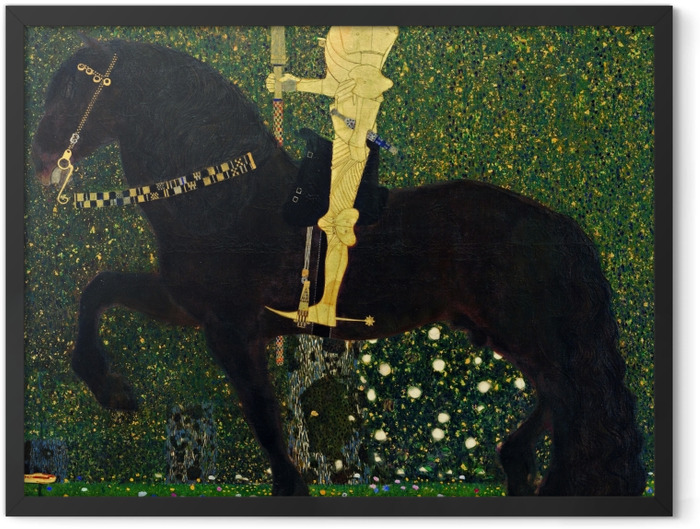 Gerahmtes Poster Gustav Klimt - Das Leben ein Kampf (Der goldene Ritter) - Reproduktion
