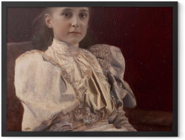 Plakat w ramie Gustav Klimt - Siedząca młoda dziewczyna - Reprodukcje