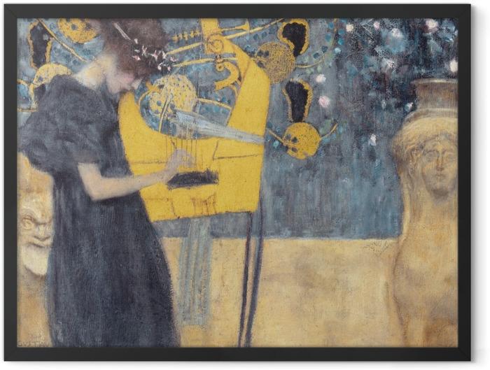 Gerahmtes Poster Gustav Klimt - Die Musik - Reproduktion