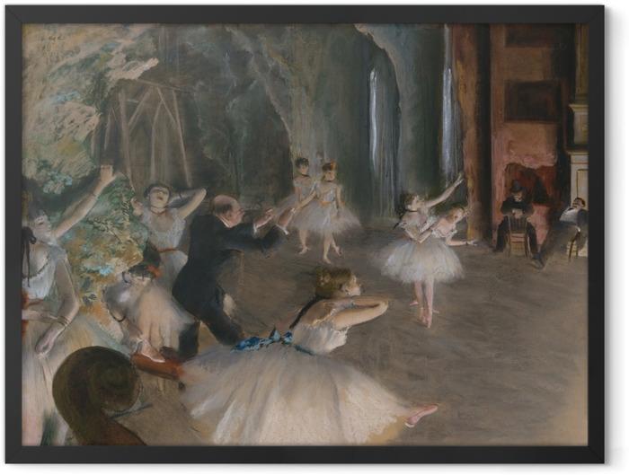 Plakat w ramie Edgar Degas - Próba baletowa na scenie - Reprodukcje