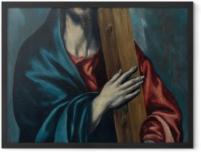 Gerahmtes Poster El Greco - Die Kreuztragung Christi - Reproduktion