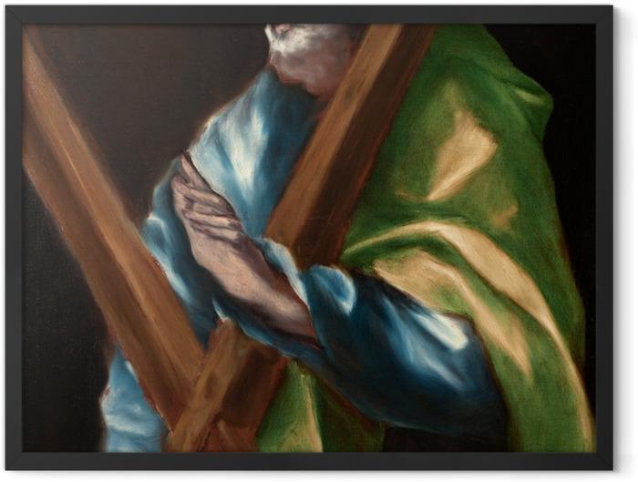 Gerahmtes Poster El Greco - Apostel Andreas - Reproduktion