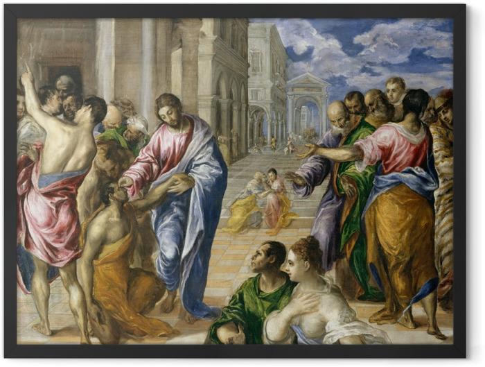 Gerahmtes Poster El Greco - Blindenheilung - Reproduktion