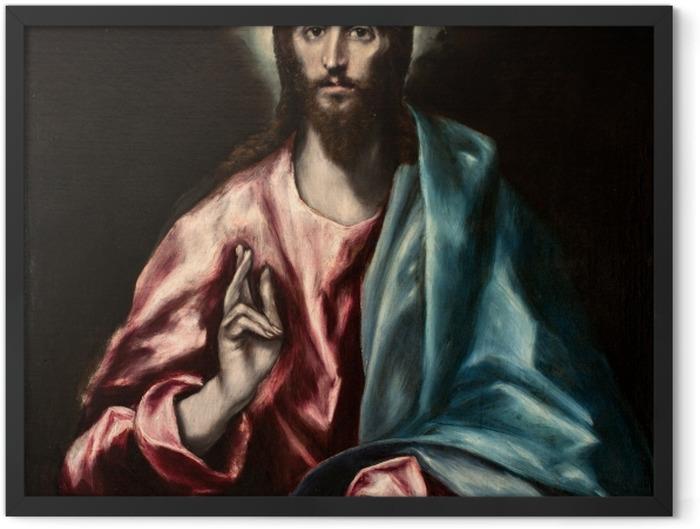 Gerahmtes Poster El Greco - Christus der Erlöser - Reproduktion